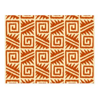 Ikat Aztec Pattern - Mandarin and Light Orange Postcard