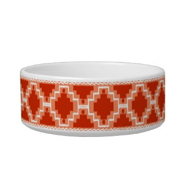 Aztec Themed Ikat Aztec Pattern - Rust, Orange and white Bowl