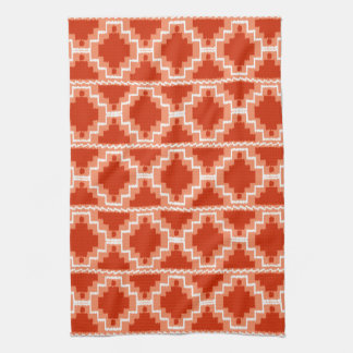 Ikat Aztec Pattern   Rust, Orange And White Towel