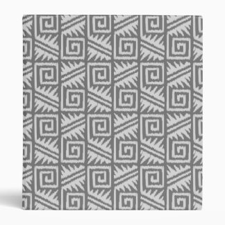 Ikat Aztec Pattern - Shades of Grey / Gray 3 Ring Binder
