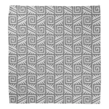 Aztec Themed Ikat Aztec Pattern - Shades of Grey / Gray Bandana