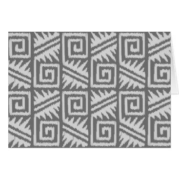 Aztec Themed Ikat Aztec Pattern - Shades of Grey / Gray Card