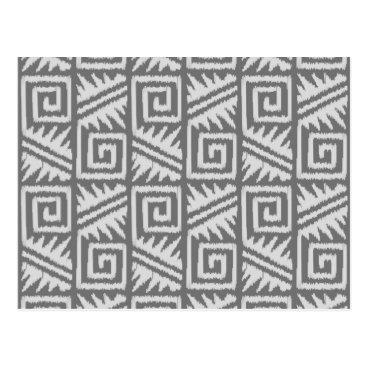 Aztec Themed Ikat Aztec Pattern - Shades of Grey / Gray Postcard
