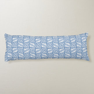Ikat Aztec Pattern - Sky Blue and White Body Pillow
