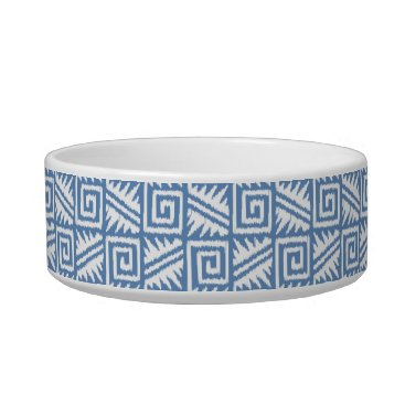 Aztec Themed Ikat Aztec Pattern - Sky Blue and White Bowl