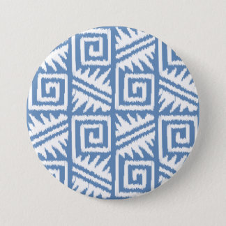 Ikat Aztec Pattern - Sky Blue and White Button