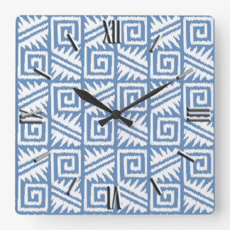 Ikat Aztec Pattern - Sky Blue and White Square Wall Clock