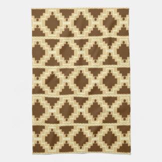 Ikat Aztec Pattern - Tan, brown and cream Towels