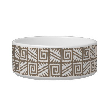 Aztec Themed Ikat Aztec Pattern - Taupe Tan and Cream Bowl
