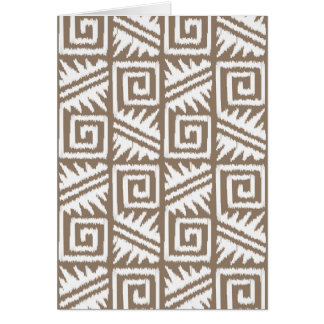 Ikat Aztec Pattern - Taupe Tan and Cream Card