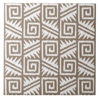 Ikat Aztec Pattern - Taupe Tan and Cream Ceramic Tile