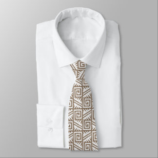 Ikat Aztec Pattern - Taupe Tan and Cream Tie