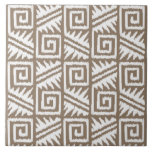 Ikat Aztec Pattern - Taupe Tan and Cream Large Square Tile