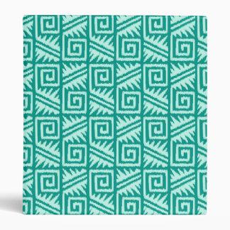 Ikat Aztec Pattern - Turquoise and Aqua 3 Ring Binder