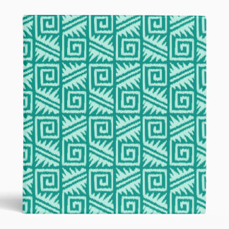 Ikat Aztec Pattern - Turquoise and Aqua 3 Ring Binders