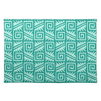 Ikat Aztec Pattern - Turquoise and Aqua Cloth Placemat