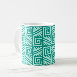 Ikat Aztec Pattern - Turquoise and Aqua Coffee Mug