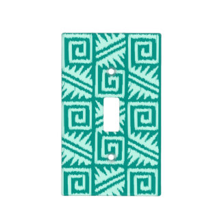 Ikat Aztec Pattern - Turquoise and Aqua Light Switch Plates