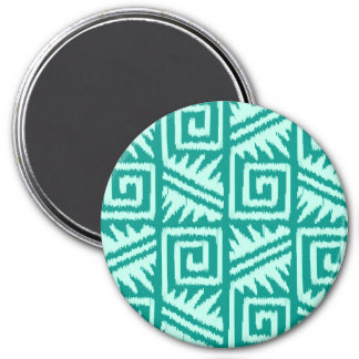 Ikat Aztec Pattern - Turquoise and Aqua 3 Inch Round Magnet