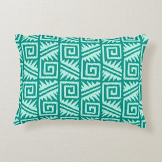 Ikat Aztec Pattern - Turquoise and Aqua Accent Pillow