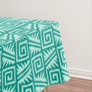 Ikat Aztec Pattern - Turquoise and Aqua Tablecloth