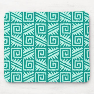 Ikat Aztec Pattern - Turquoise and Aqua Mouse Pad