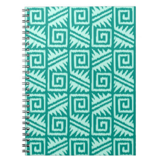 Ikat Aztec Pattern - Turquoise and Aqua Note Book