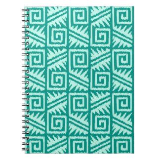 Ikat Aztec Pattern - Turquoise and Aqua Notebook