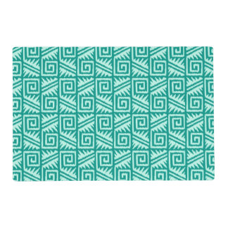Ikat Aztec Pattern - Turquoise and Aqua Laminated Place Mat
