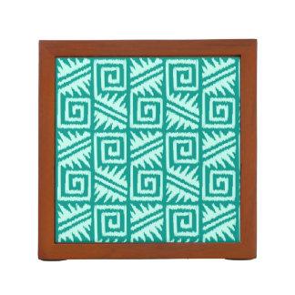 Ikat Aztec Pattern - Turquoise and Aqua Pencil Holder