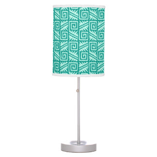 Ikat Aztec Pattern - Turquoise and Aqua Table Lamp