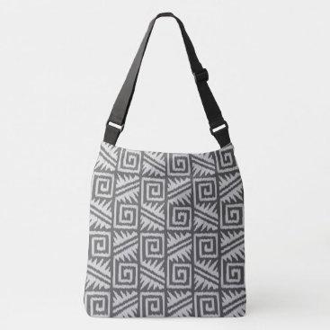 Aztec Themed Ikat Aztec Tribal - Charcoal and Silver Grey Crossbody Bag