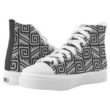 Aztec Themed Ikat Aztec Tribal - Charcoal and Silver Grey High-Top Sneakers