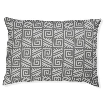 Aztec Themed Ikat Aztec Tribal - Charcoal and Silver Grey Pet Bed