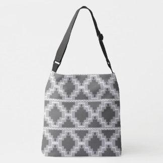 Ikat Aztec Tribal - Dark and light Grey / Gray Crossbody Bag