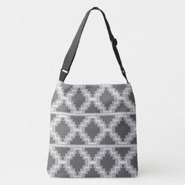 Aztec Themed Ikat Aztec Tribal - Dark and light Grey / Gray Crossbody Bag