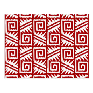 Ikat Aztec Tribal - Dark Red and White Post Cards