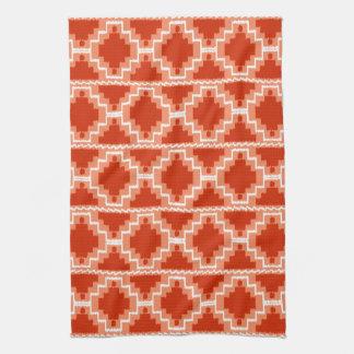 Ikat Aztec Tribal - Rust, Orange and white Hand Towels