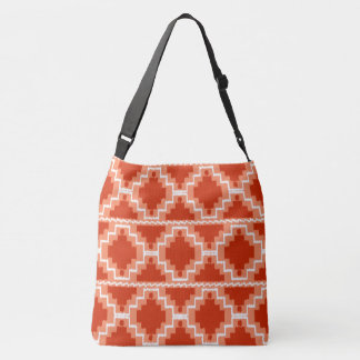 Ikat Aztec Tribal - Rust, Orange and white Tote Bag