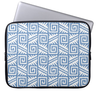 Ikat Aztec Tribal - Sky Blue and White Laptop Computer Sleeves