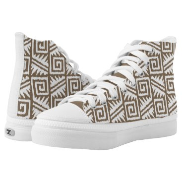 Aztec Themed Ikat Aztec Tribal - Taupe Tan and White High-Top Sneakers