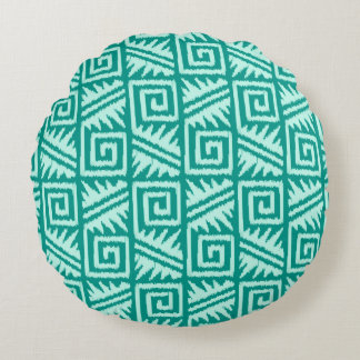 Ikat Aztec Tribal - Turquoise and Aqua Round Pillow