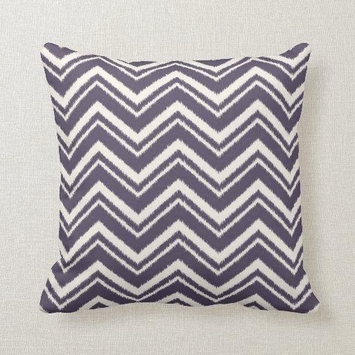 Ikat Chevron Striped Pattern in Plum Throw Pillow Zazzle
