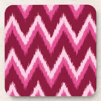 Ikat Chevron Stripes - Burqundy, Rose and Pink Coaster