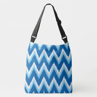 Ikat Chevron Stripes - Cobalt, Sky Blue and White Crossbody Bag