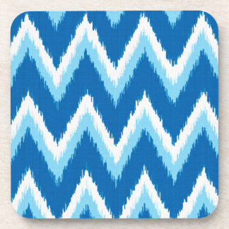 Ikat Chevron Stripes - Cobalt, Sky Blue and White Drink Coaster