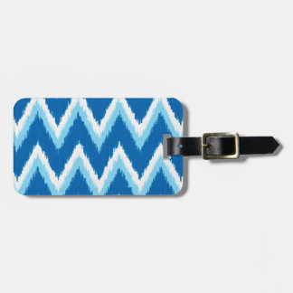 Ikat Chevron Stripes - Cobalt, Sky Blue and White Travel Bag Tags