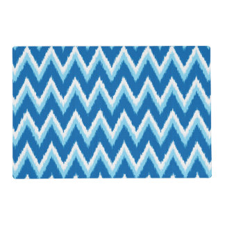 Ikat Chevron Stripes - Cobalt, Sky Blue and White Laminated Place Mat