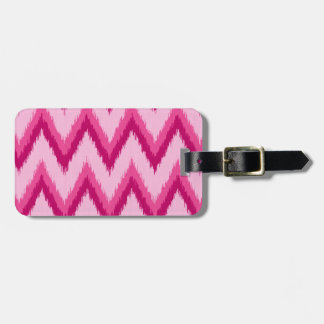 Ikat Chevron Stripes - Fuchsia and Pale Pink Bag Tag