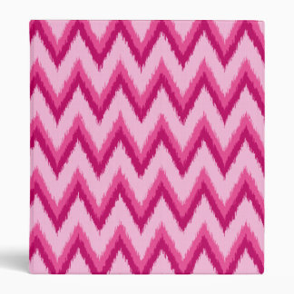 Ikat Chevron Stripes - Fuchsia and Pale Pink 3 Ring Binders